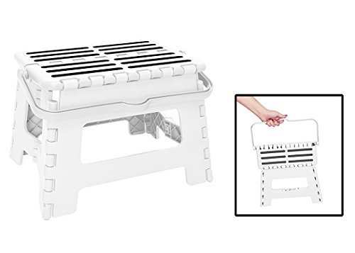 Simplify 9 inch Folding Stool With Convenient Carrying Handle, White
