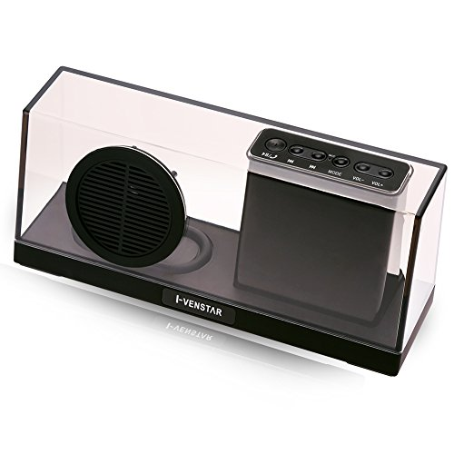 Wireless Speaker, Portable Bluetooth Stereo Speaker with 5W Speaker Enhanced Bass Resonator, FM Radio, Built-in Mic, LED Display, 3.5 mm Audio Jack, support TF card/Micro SD card and USB input, up to 35ft Bluetooth Range, up to 8 Hours Playtime, support MP3, WAV, WMA, APE, FLAC format audio file(Clear Black)