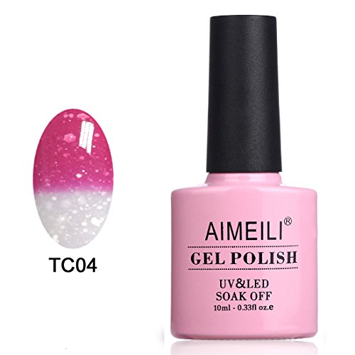 AIMEILI Soak Off UV LED Temperature Color Changing Chameleon Gel Nail Polish - Hot Pink to Glitter White (TC04) 10ml (Color Changing Nail Polish Uv compare prices)