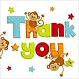 Jungle Thank You Cards - Pack of 8 Monkey & Giraffeby Carlton