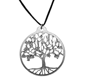 Tree of Life Silver-dipped Pendant Necklace on Adjustable Natural Fiber Cord