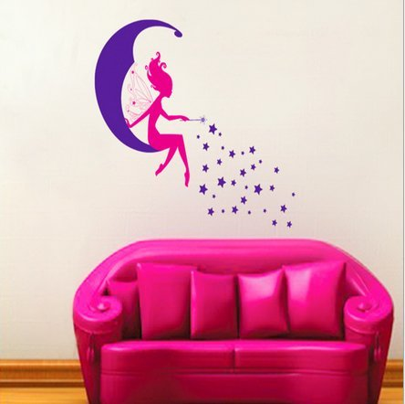 Cartoon Moon Fairy Living Room Wall Stickers front-413879