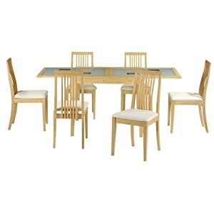 Alaska Extending Glass Dining Table 6 Chairs Set Kitchen