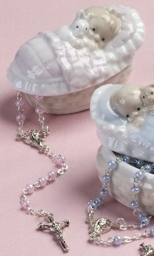Roman Pink Rosary in a Porcelain Keepsake Box Christening Baptism Gift