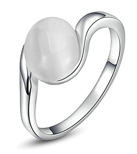 Gnzoe Gioielli, Placcato argento Oval Opal Stone Anello di Nozze And Banda per Donna