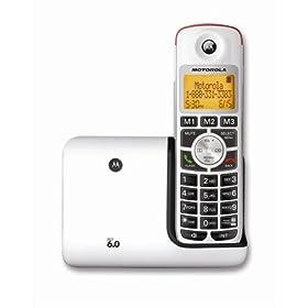 (史低)Motorola K301 DECT 6.0摩托罗拉白色数字无绳电话$24.99,