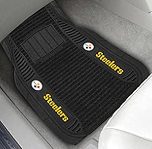 Pitsburgh Steelers Nfl Deluxe 2-piece Vinyl Car Mats (20x27) at SteelerMania