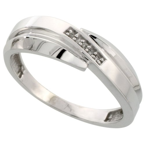 Sterling Silver Mens Diamond Wedding Band Ring 0.03 cttw Brilliant Cut, 9/32 inch 7mm wide, Size 8.5
