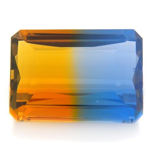 13.50cts Emerald Cut 17*13mm Blue Yellow Bicolor Ametrine Quartz Gemstone VVS