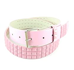 Q Collection Faux Leather Pyramid Studded Belt - Cool Designer Belt for Men and Women - Quality Construction, Trendy Design - Solid Pink , Large