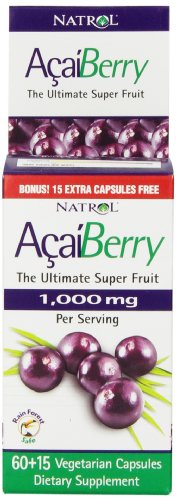 Natrol AcaiBerry 1000 Mg Vegetarian Capsules, 60-Count Bonus Size