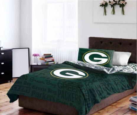 Green Bay Packers Twin Comforter & Sheets (4 Piece Nfl Bedding) front-1012751