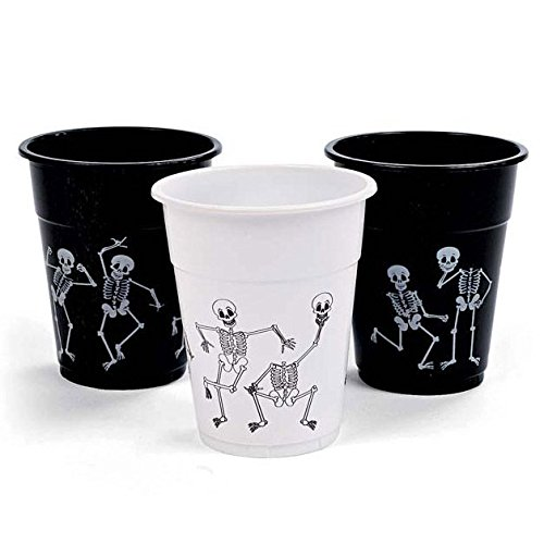 Skeleton Print Disposable Plastic Cups - Tableware & Party Cups