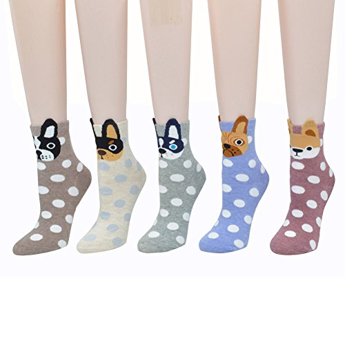 MpingT Women Girl's Lovely Cat Cartoon Pattern Casual Cotton Crew Floor Socks (Little dog-pack of 5) (Funny Socks Pack compare prices)