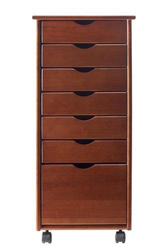 """Stanton 6 + 1 Drawer Storage Cart, 35.5""""Hx15.5""""W, Walnut front-1013940"""