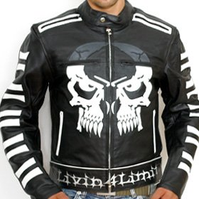 4LIMIT Sports biker blouson moto >>CROSSBONES<< veste en cuir noir