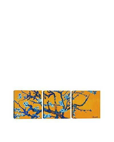 Vincent Van Gogh Almond Blossom (Orange) (Panoramic) 3-Piece Canvas Print