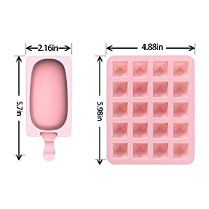 KakuFunny Ice Cube Trays Silicone 2 Pack,Easy to Release and Flexible Make 20 Ice Cubes Reusable Ice Cube Molds with 4 Pack Popsicle Silcone Molds Included 40 Wooden Sticks