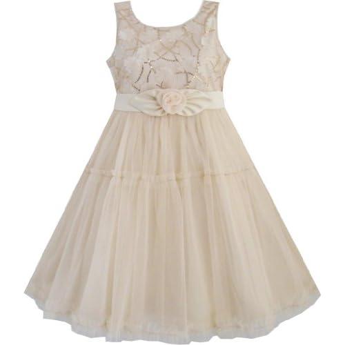 EE74 子供ドレス キッズドレス 結婚式 発表会 よじ登る スパンコール ベージュ チュール 層 130cm