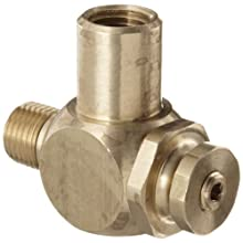 "Parker 032510250 3251 Series Brass Right Angle Flow Control Valves, 1/4"" NPT Male x Female, 125 psi"