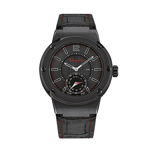 Salvatore-Ferragamo-Mens-F-80-Swiss-Quartz-Stainless-Steel-and-Leather-Casual-Watch-ColorBlack-Model-FAZ020016