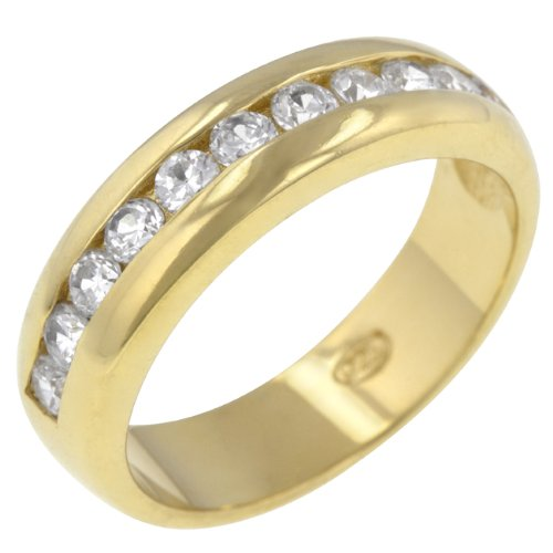 14k Gold Bonded to Sterling Silver Eternity CZ Ring