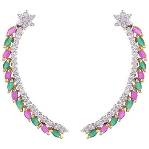 the-jewelbox-ear-cuffs-pair-red-green-american-diamond-nakshatra-gold-plated