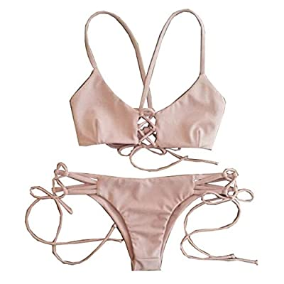 Yesiyan Women's Two Pieces Bikini Swimsuit Swimwear Bathing Suits Pink