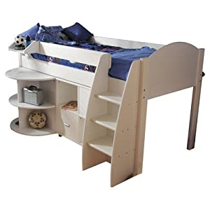 Rondo Single Mid Sleeper Bunk Bed with Cube Unit & Extending Desk Panel Finish: Blue, Frame Finish: White