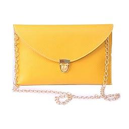 HDE Women\'s Envelope Clutch Purse Handbag (Yellow)