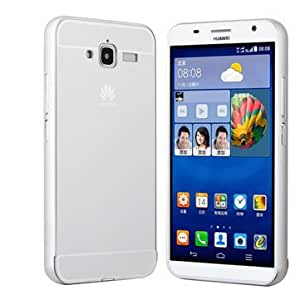 Ultra Thin Slim Aluminum Metal Bumper Frame with Sliding Back Case For Huawei Ascend GX1-Silver