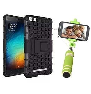 Droit Shock Proof Protective Bumper back case with Flip Kick Stand for Redmi MI4C + Mini Pocket Selfie Stick with Aux cable by Droit Store.