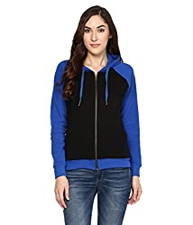 Hypernation Black and Royal Blue Front Open Cotton Hooded Jacket