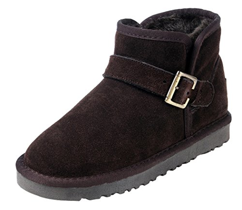 MILANAO Women Winter Buckle Unisex Cowhide Ankle Snow Boots (7 B(M)US,chocolate)