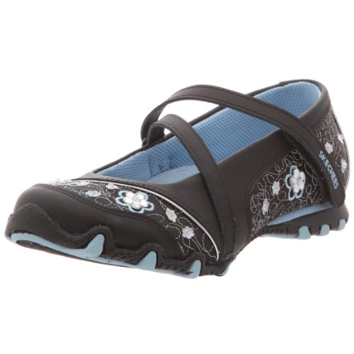 Skechers Girl's Bikers Fauna Smooth Girl's Ballerina Black UK 13 (Junior)