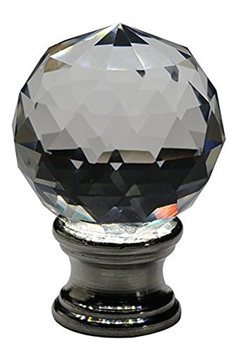 Urbanest Crystal Fractal Lamp Finial, Brushed Steel, 1 11/16-inch Tall