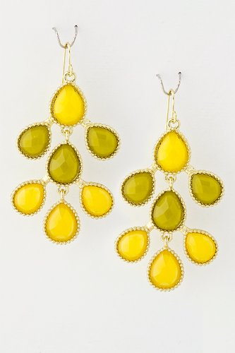Karmas Canvas Tonal Droplet Jewel Earrings (Yellow)