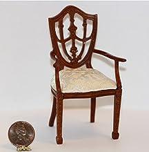 Dollhouse Miniature Walnut Traditional Arm Chair