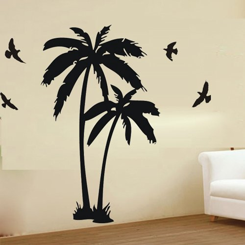 """23.6"""" X 47.2"""" Wall Decor Decal Murals Wall Paper Sticker Large Palm Coconut Tree Branch Flying Birds Art front-680185"""