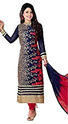 HK Trading Women's Georgette Unstitched Dress Material (MHARI81900638590_Blue_Free Size)