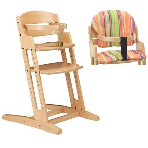 BabyDan Danchair Medium Back Wooden Highchair (Natural) + Stripe Cushion