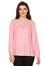 Oyshi Women's Self Design Top (PK1018L, Pink, Large)