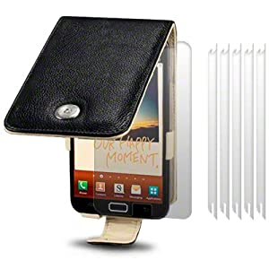 SAMSUNG GALAXY NOTE BLACK GENUINE LEATHER FLIP CASE / COVER / POUCH / HOLSTER, CREAM INSIDE, BY TERRAPIN + 6-IN-1 SCREEN PROTECTOR PACK PART OF THE QUBITS ACCESSORIES RANGE