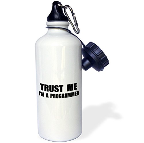 3dRose wb_195648_1 Trust Me Im a Programmer Programming Work Humor Funny Job Text Gift Sports Water Bottle, 21 oz, White