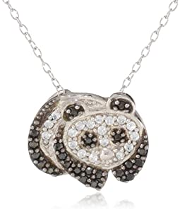 Sterling Silver Black and White Cubic-Zirconia Panda Pendant Necklace, 18""