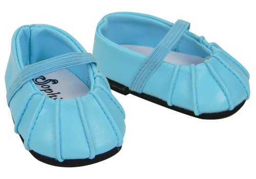 Baby Doll Dress Shoes fits American Girl Bitty Baby Doll, Blue Ballerina Flats