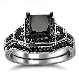 2.03ct Black Princess Cut Diamond Engagement Ring Bridal Set 14k White Gold