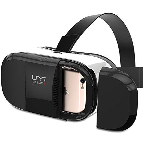 UMI VR BOX 3 Dispositivo, Occhiali per Realtà Virtuale, Visore con Lenti Regolabili/Laccio Regolabile/Magnete, per Film 3D/Giochi - Bianco e Nero