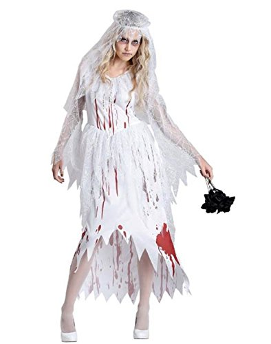 NonEcho Adult Ghostly Bloody Bride Costume Women (Womens Plus Size Voodoo Doll Costume)