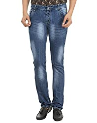 Adhaans Blue Faded Denim Jeans for Men